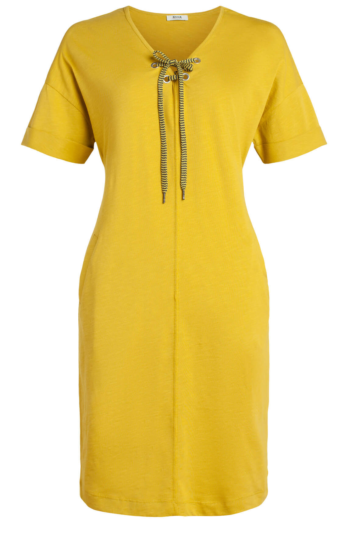 Anna Dames Jurk met strikdetail geel