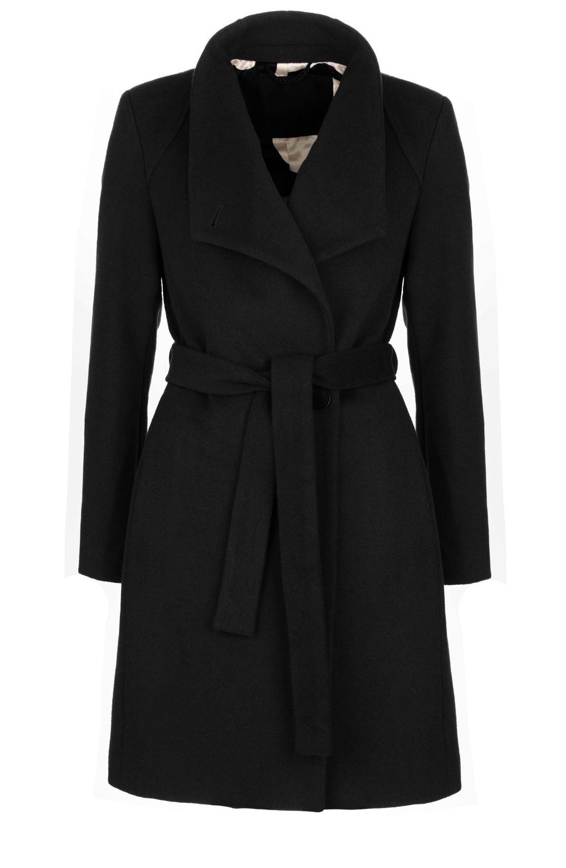 Giacomo Dames Wollen mantel met ceintuur zwart
