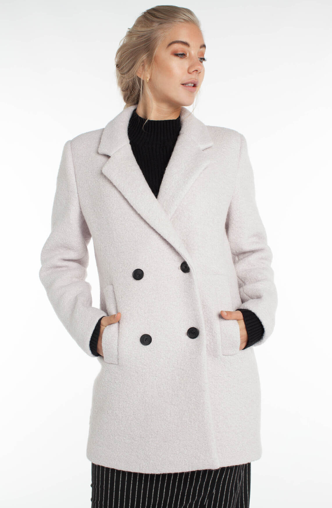 Giacomo Dames Wollen mantel wit