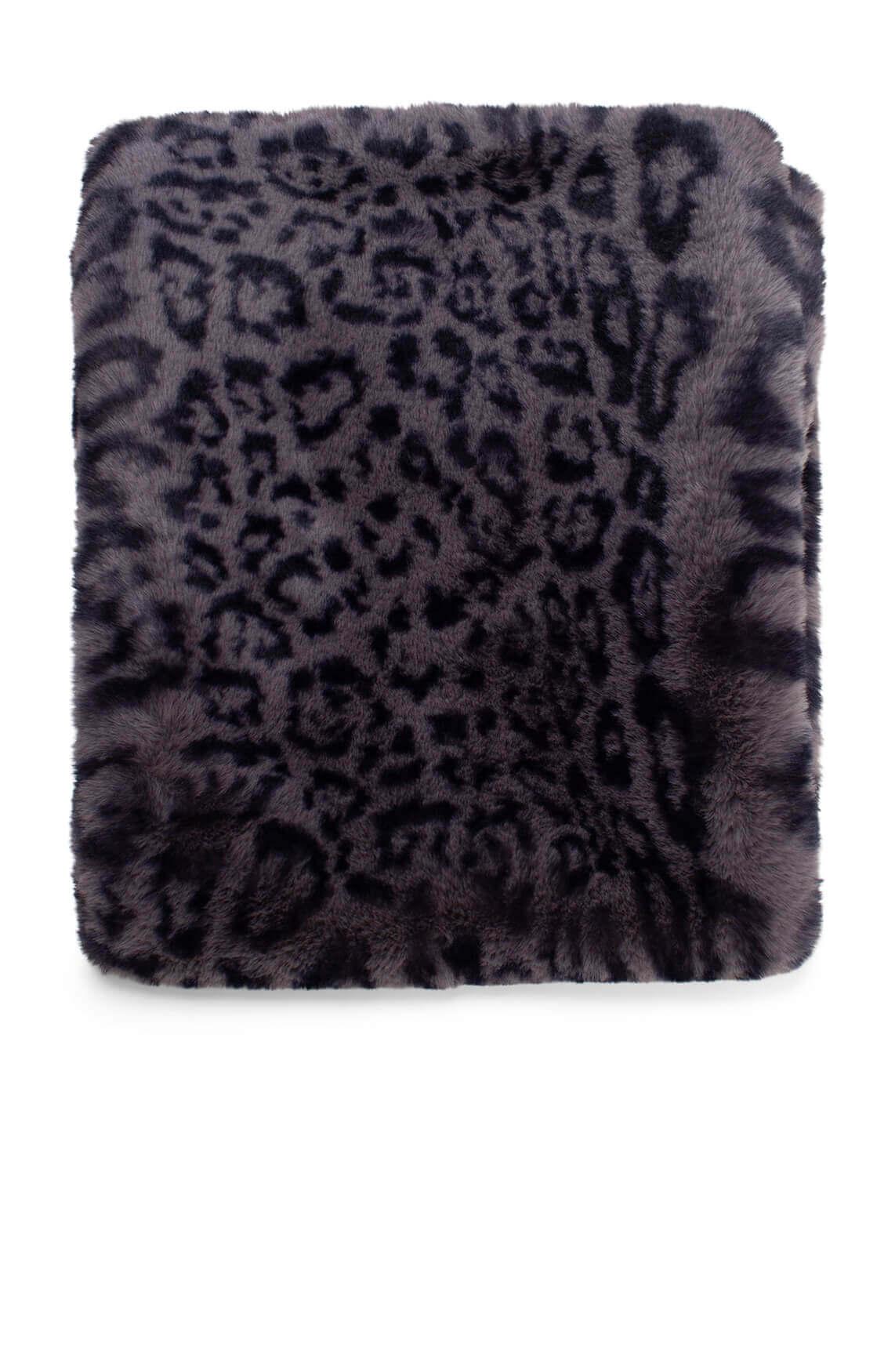 Giacomo Dames Fake fur shawl met panterprint Grijs