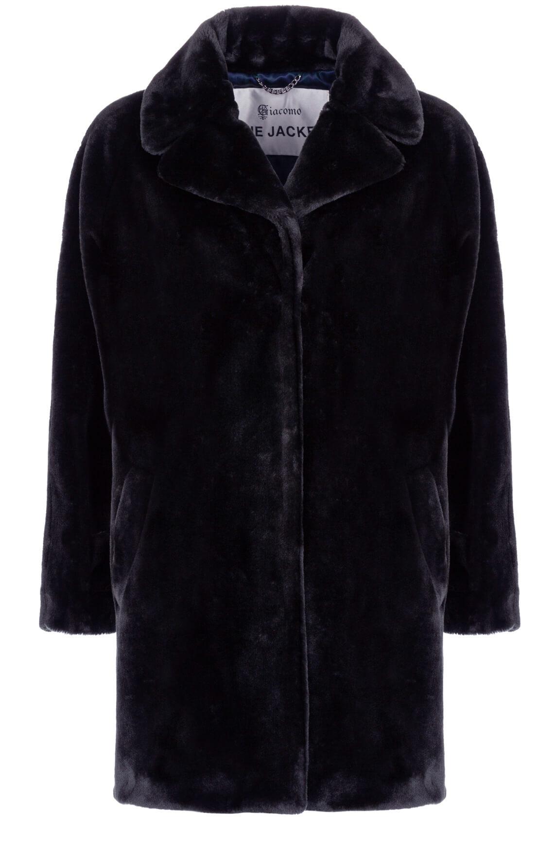 Giacomo Dames Fake fur mantel Blauw