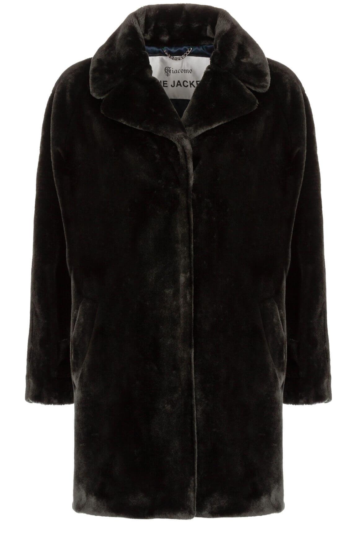 Giacomo Dames Fake fur mantel groen