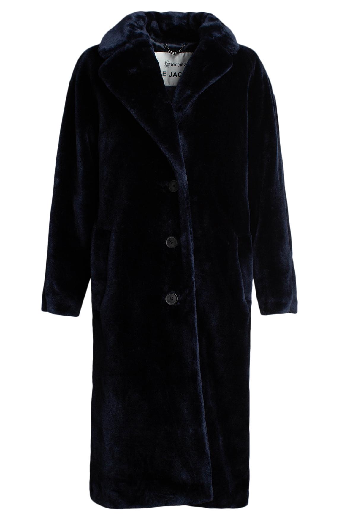 Giacomo Dames Lange fake fur mantel Blauw