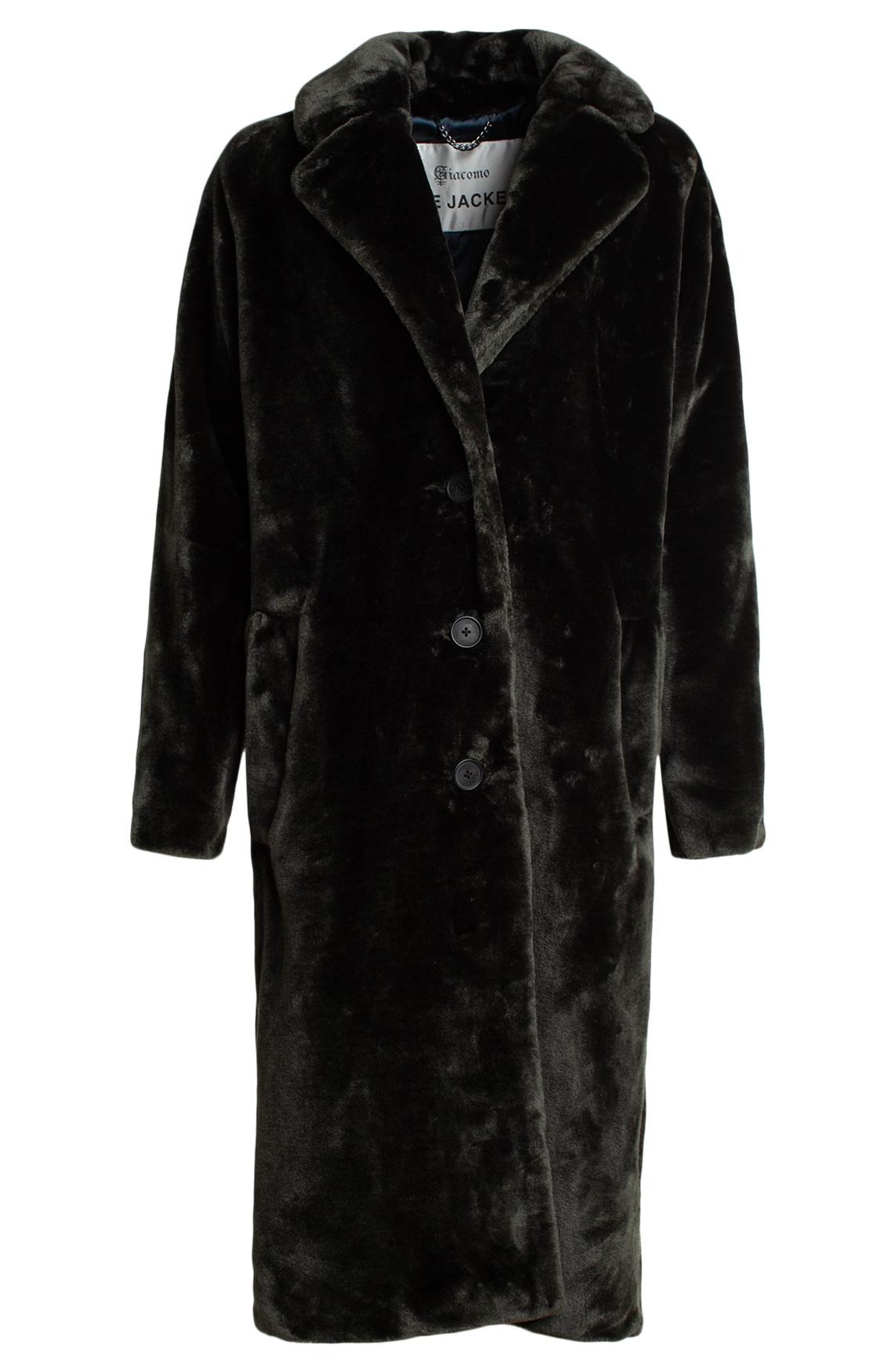 Giacomo Dames Lange fake fur mantel groen