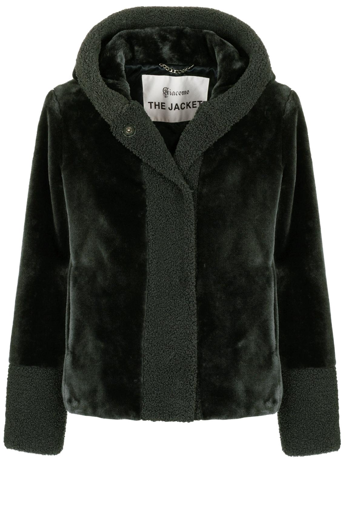 Giacomo Dames Korte fake fur jas groen