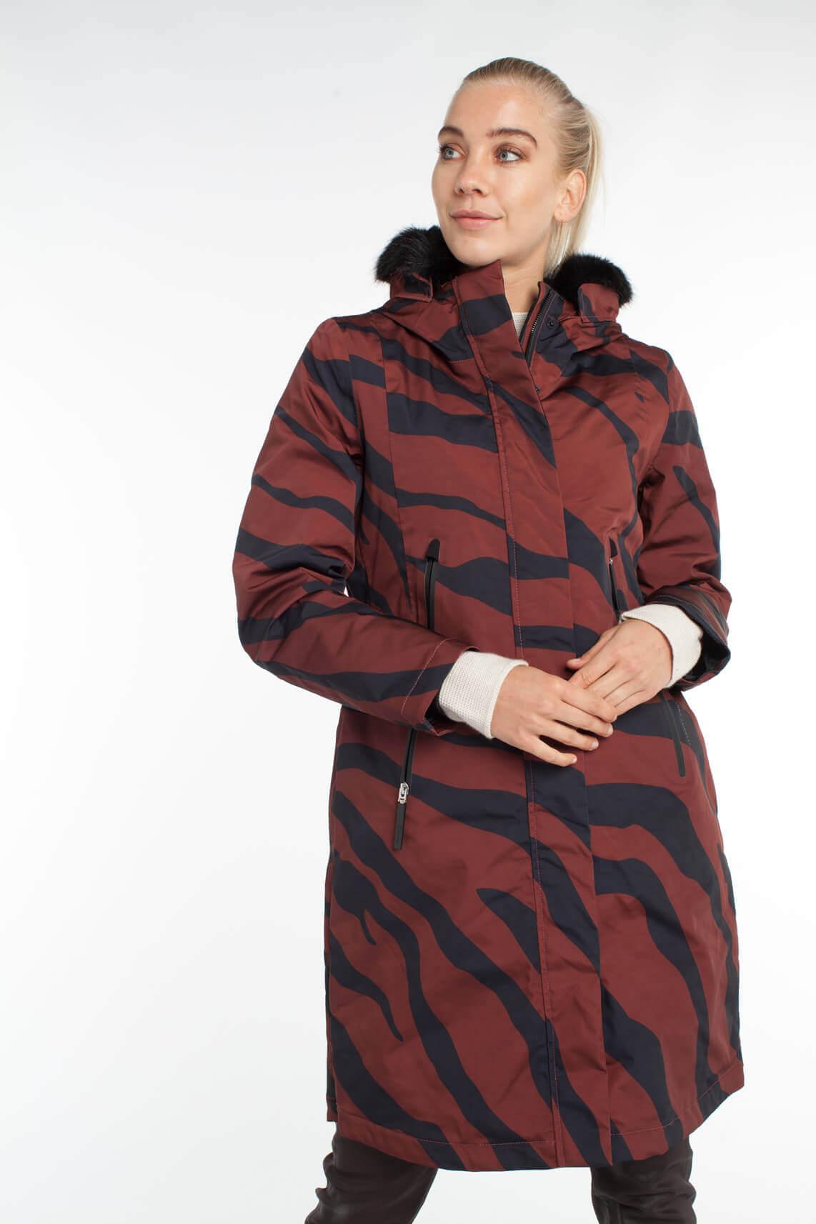Giacomo Dames Waterproof jas met animalprint Rood