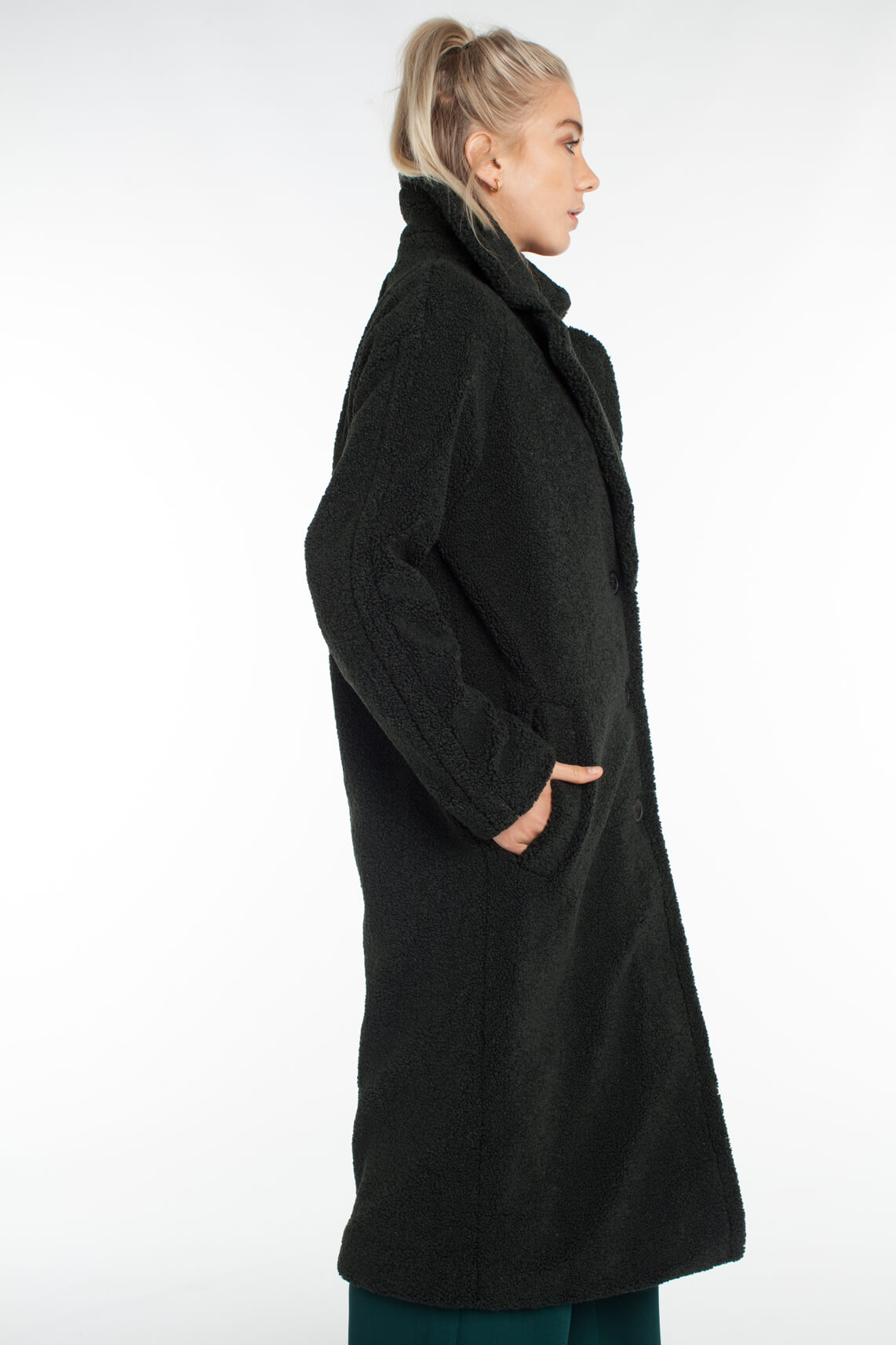 Giacomo Dames Lange teddy mantel groen