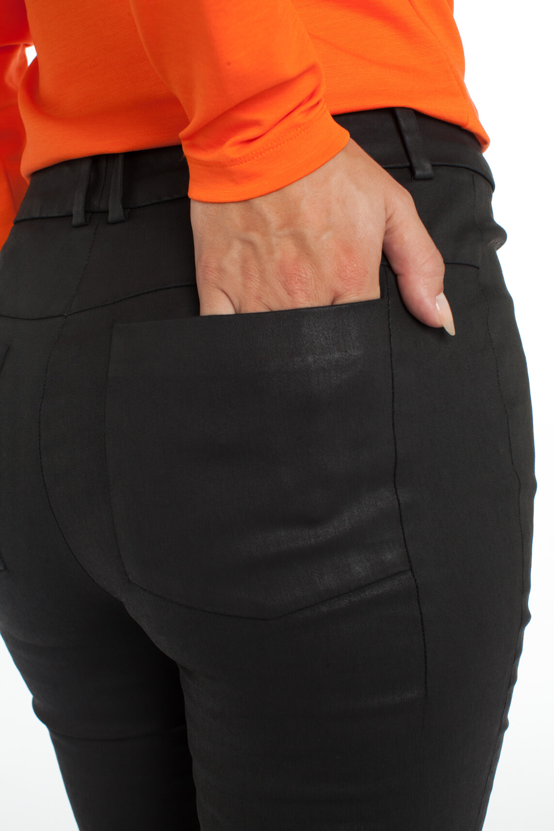 Drykorn Dames Winch gecoate broek zwart
