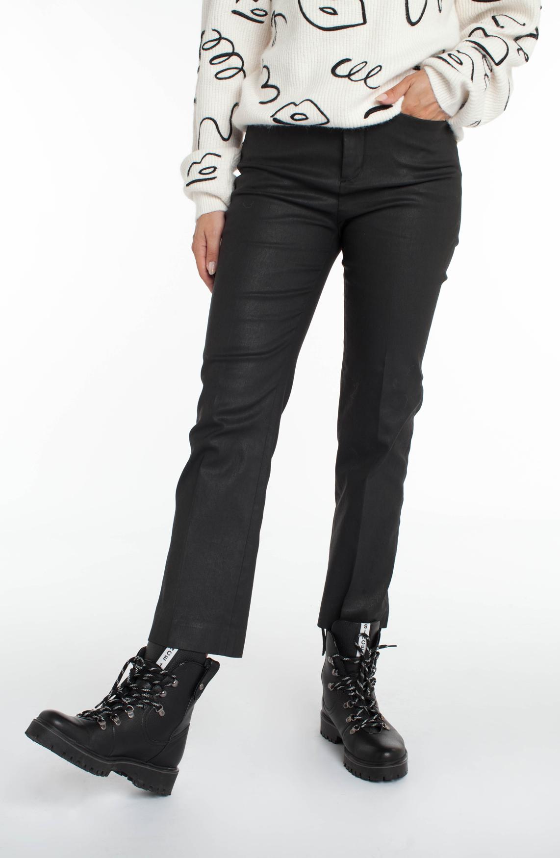 Drykorn Dames Basket gecoate broek zwart