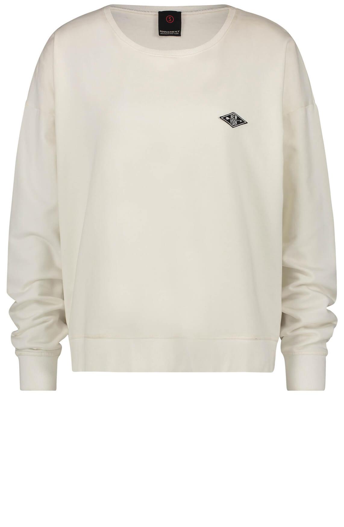 Penn & Ink Dames Sweater met tekstopdruk wit