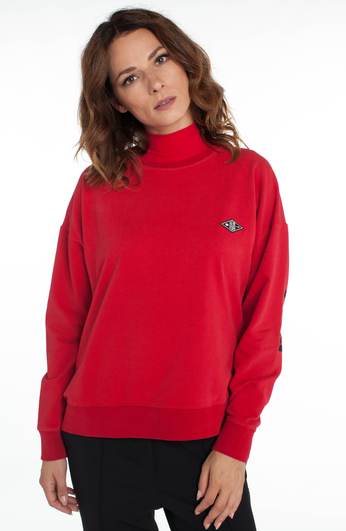 Penn & Ink Dames Sweater met tekstopdruk Rood