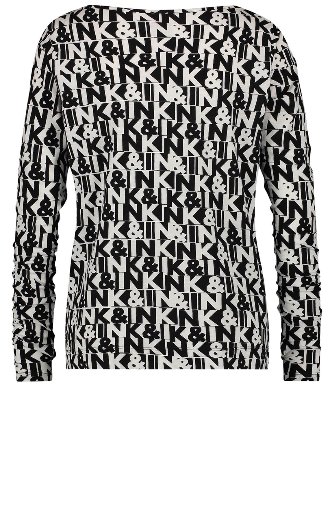 Penn & Ink Dames Shirt met tekstprint zwart