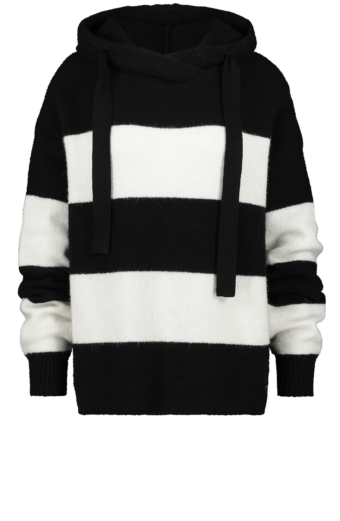 Penn & Ink Dames Gestreepte pullover zwart