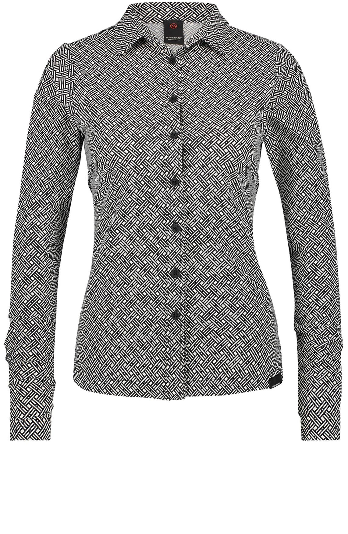Penn & Ink Dames Blouse met grafische print zwart
