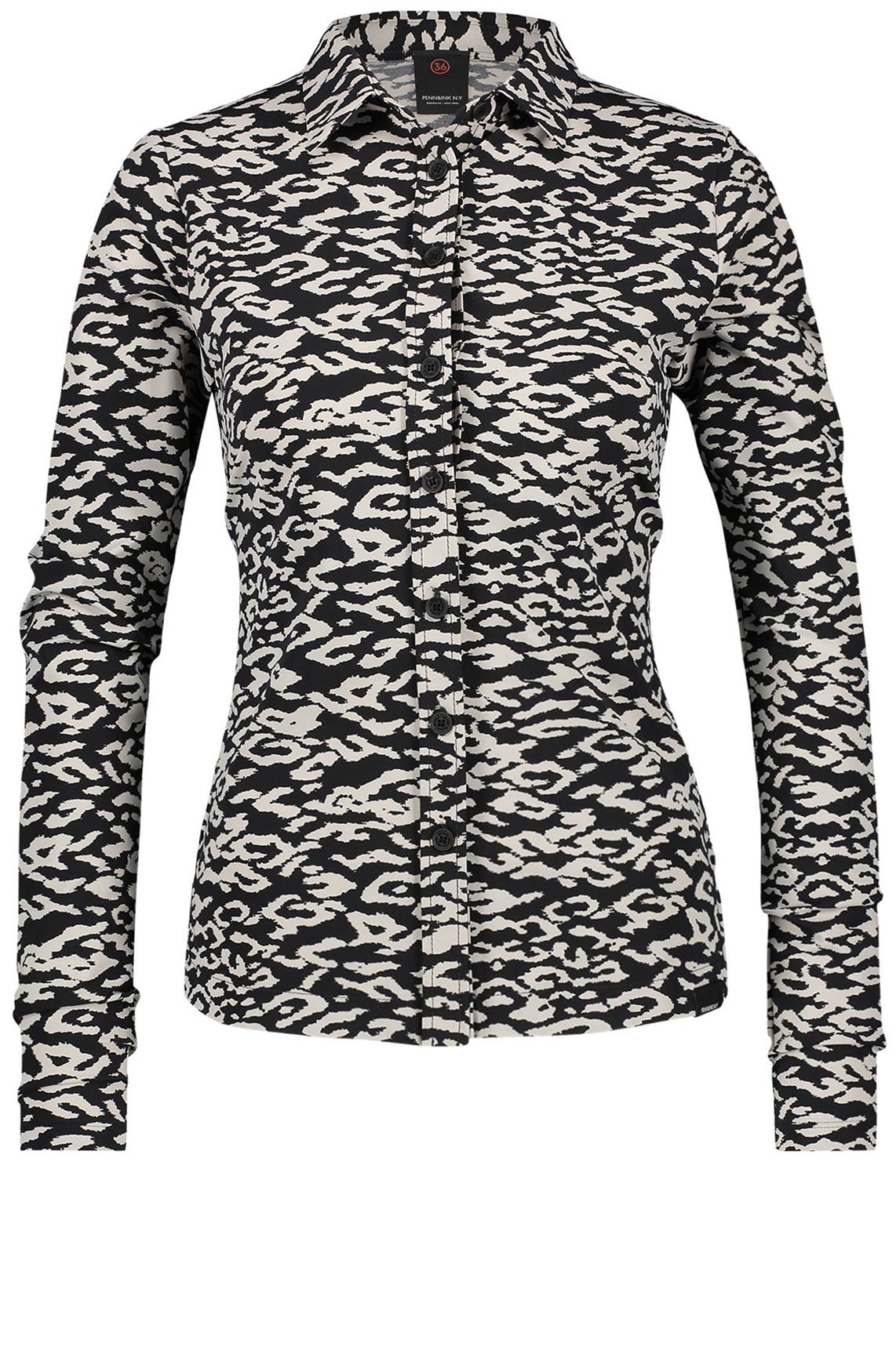 Penn & Ink Dames Blouse met animalprint zwart