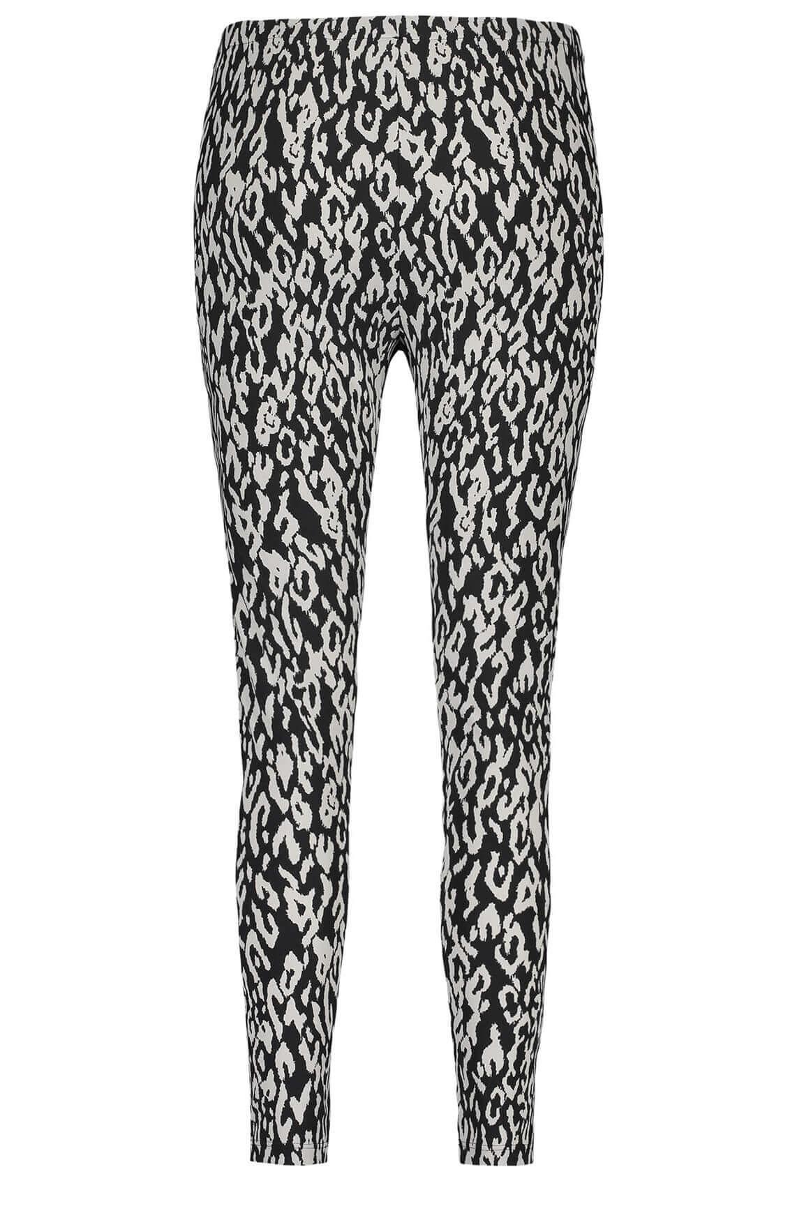 Penn & Ink Dames Legging met animalprint zwart