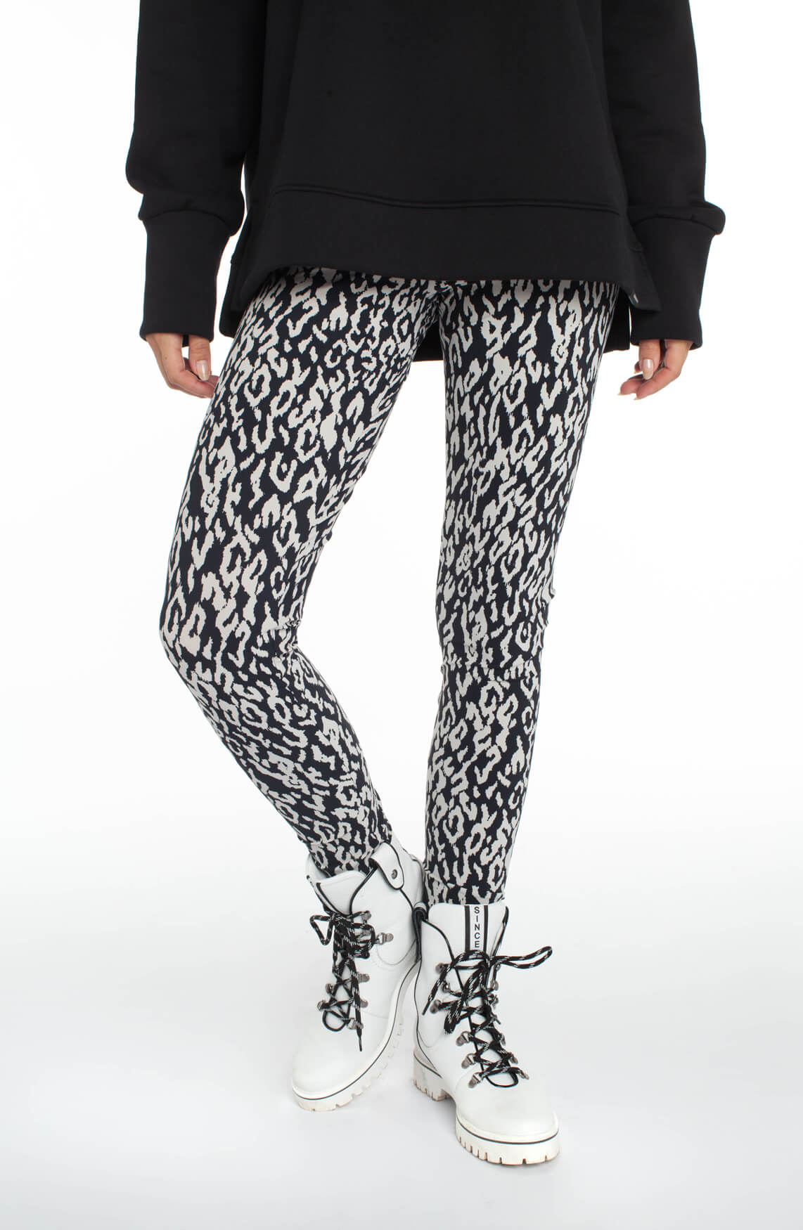 Penn & Ink Dames Legging met animalprint zwart