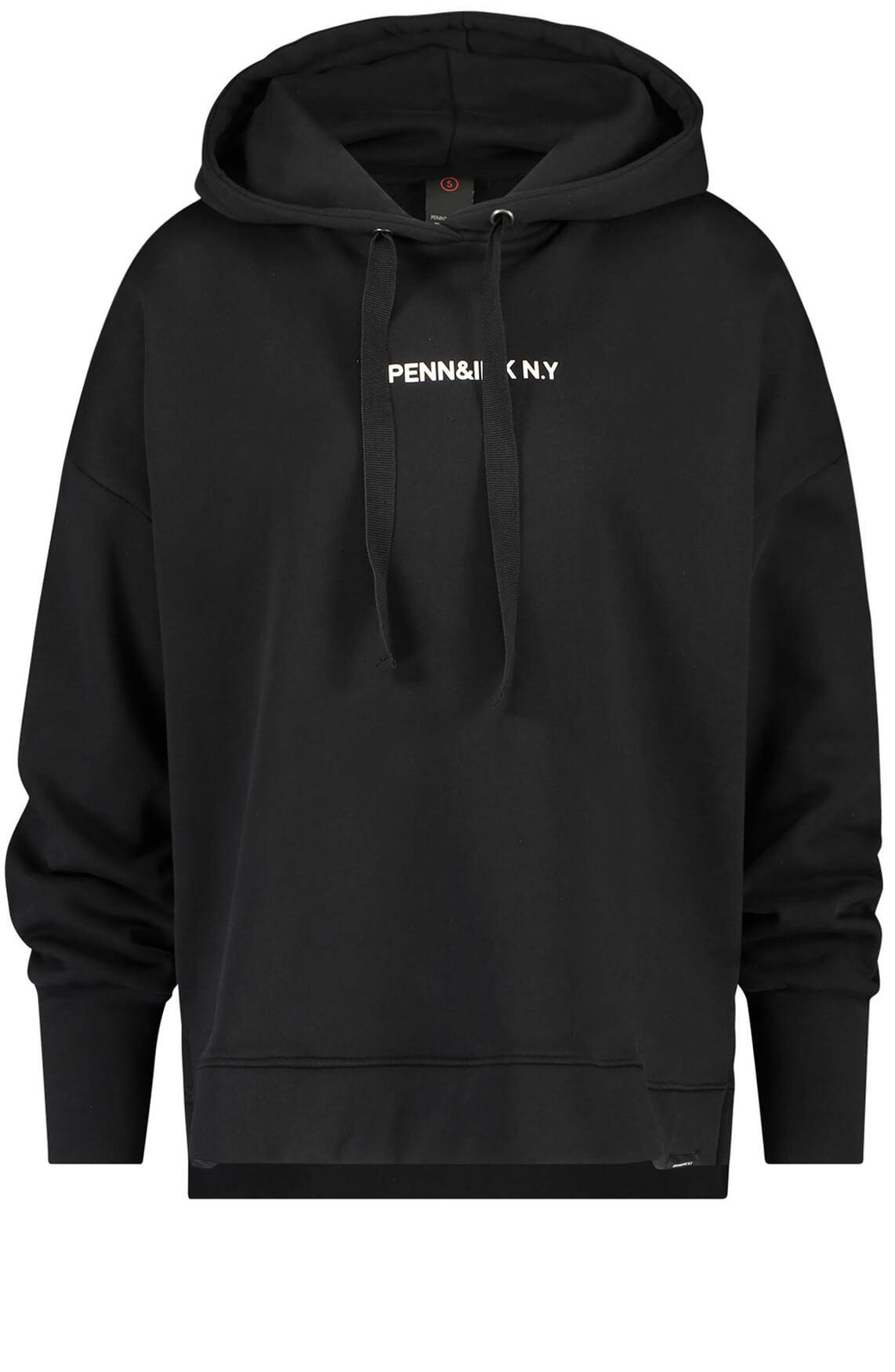 Penn & Ink Dames Sweater met tekstopdruk zwart