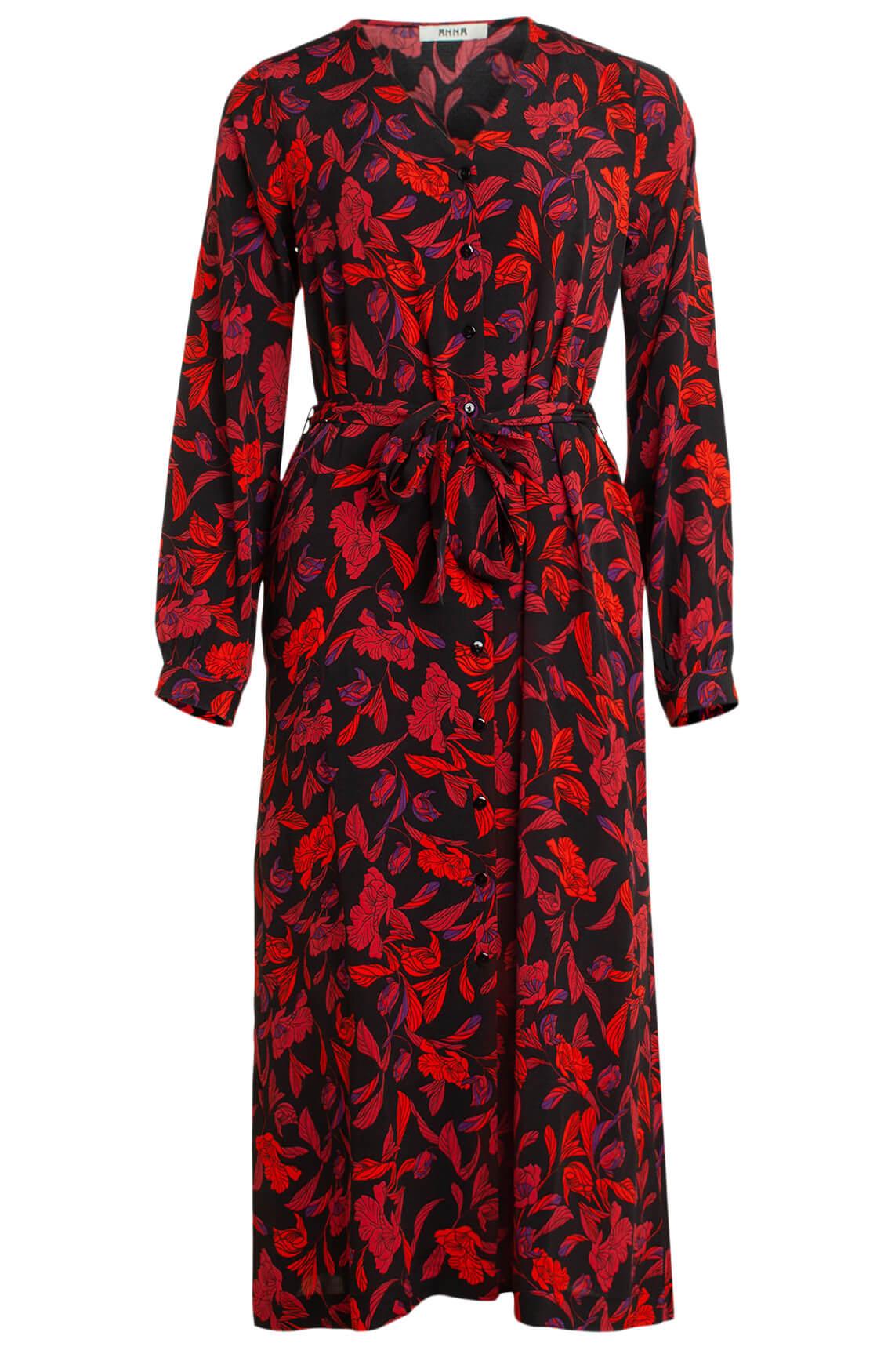 Anna Dames Lange jurk met bloemenprint Rood
