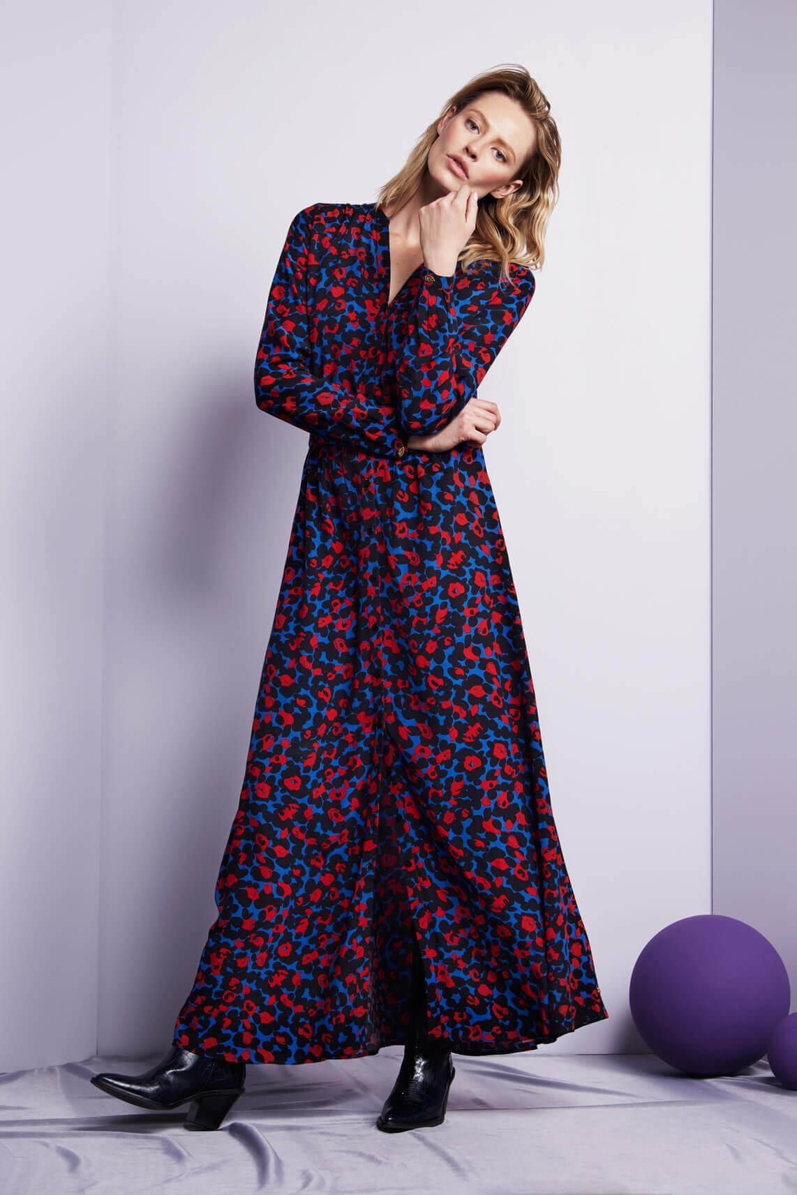 Fabienne Chapot Dames Liselotte lange panterprint jurk Blauw
