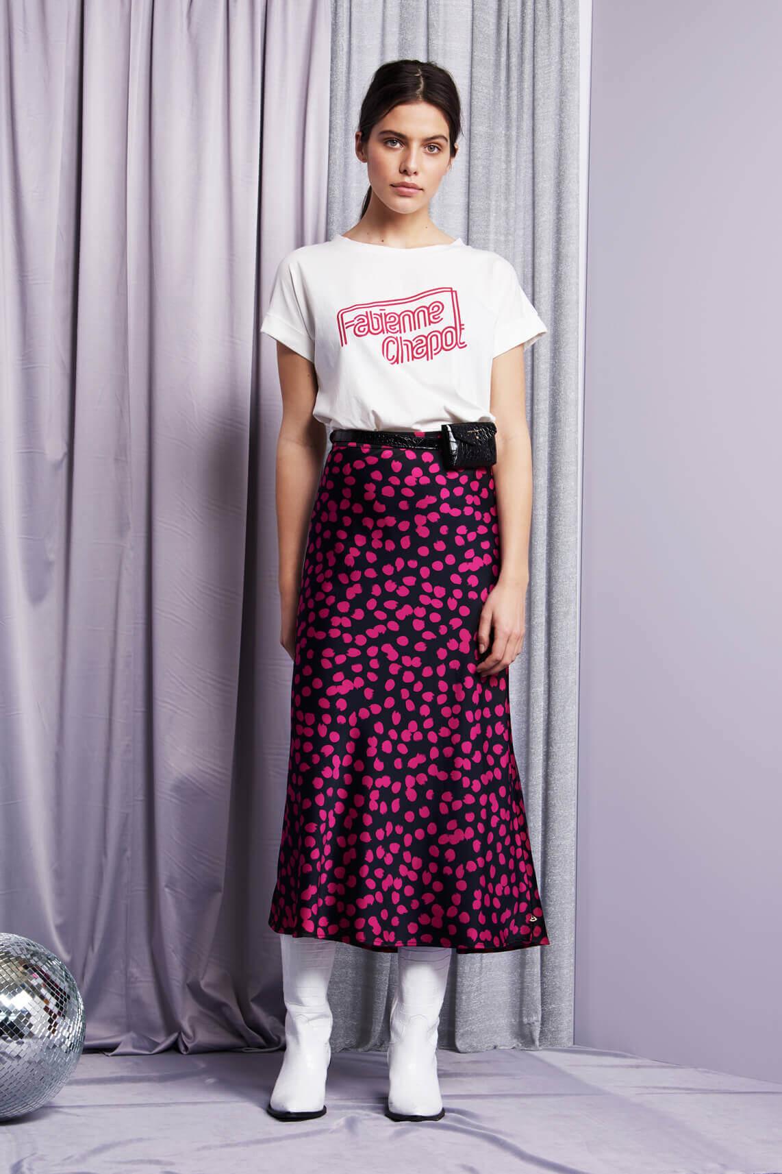 Fabienne Chapot Dames Hall lange rok met stipdessin roze
