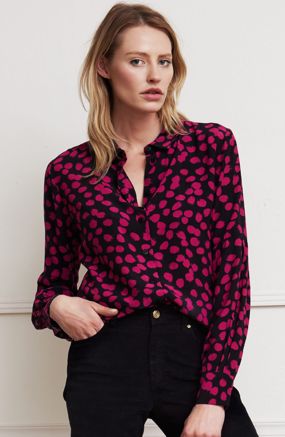 Fabienne Chapot Dames Donna blouse met stipdessin roze