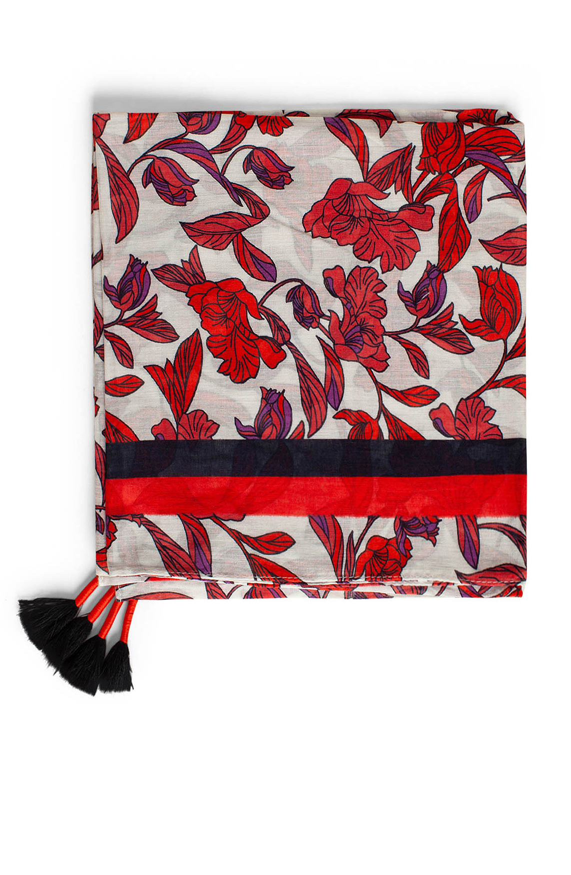 Anna Dames Shawl met bloemenprint Rood