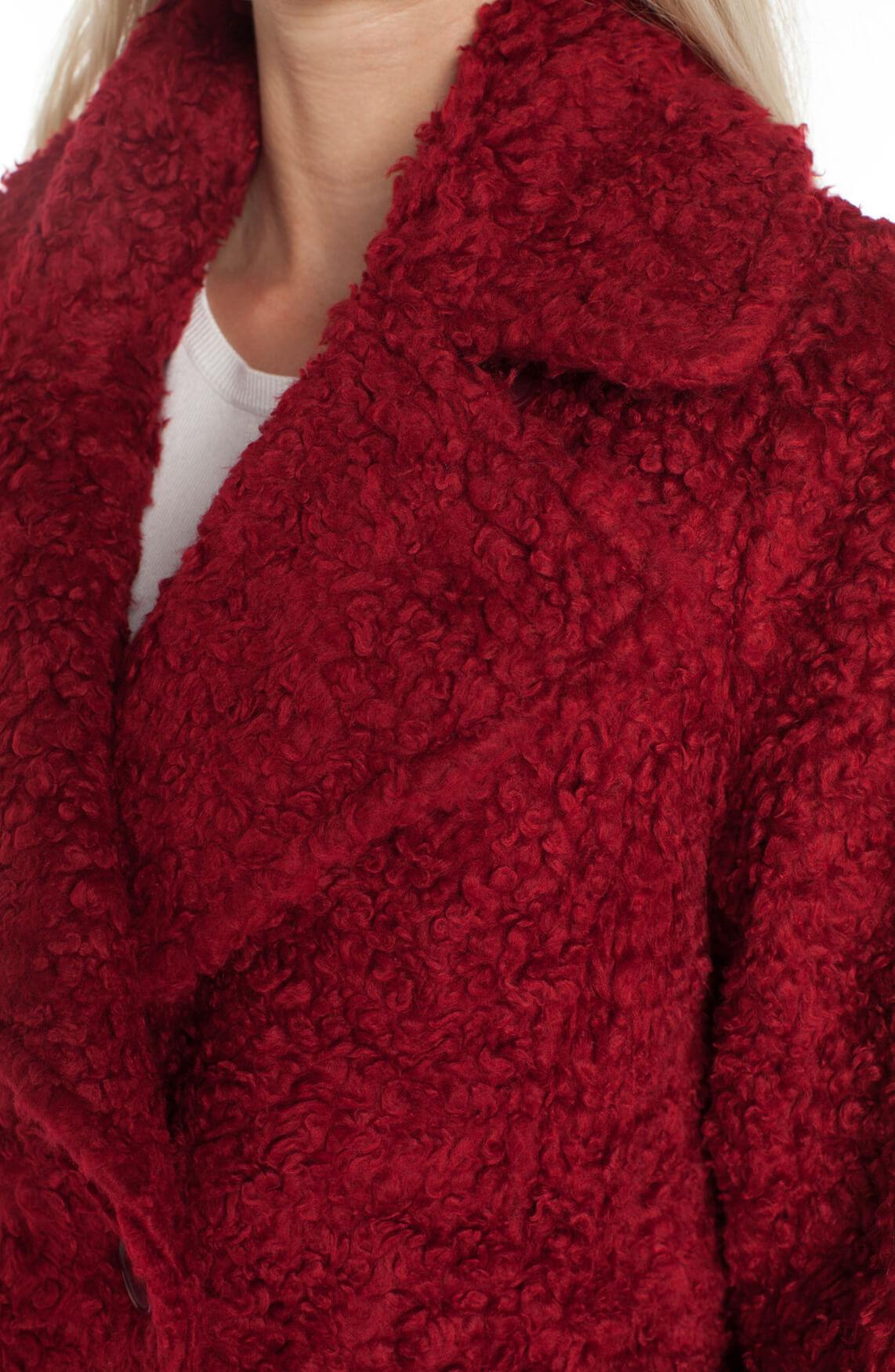 Anna Dames Bouclé mantel Rood