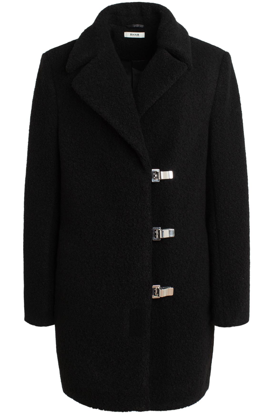 Anna Dames Wollen mantel zwart