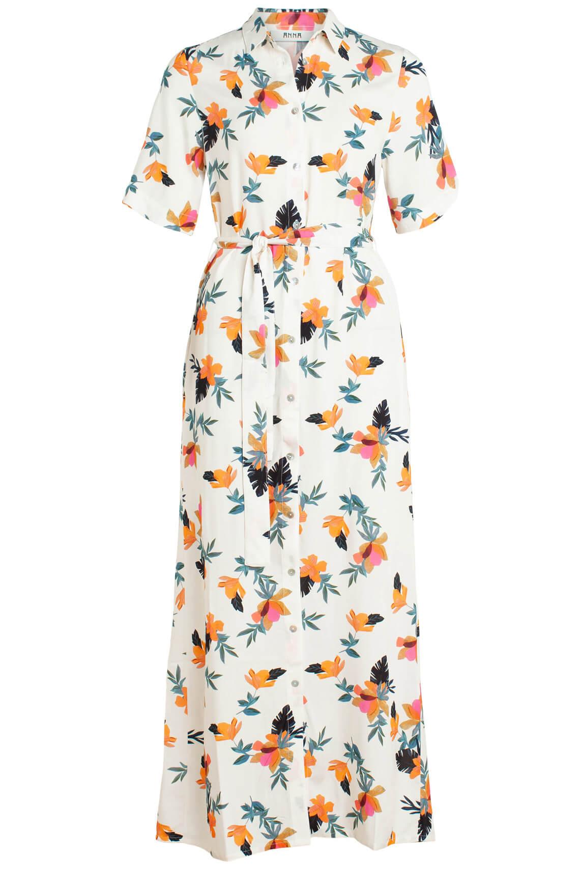 Anna Dames Lange jurk met bloemenprint wit