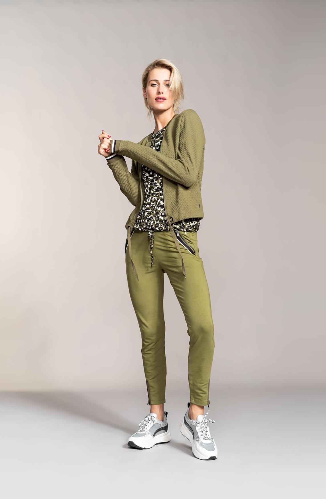 Anna Dames Shirt met panterprint groen