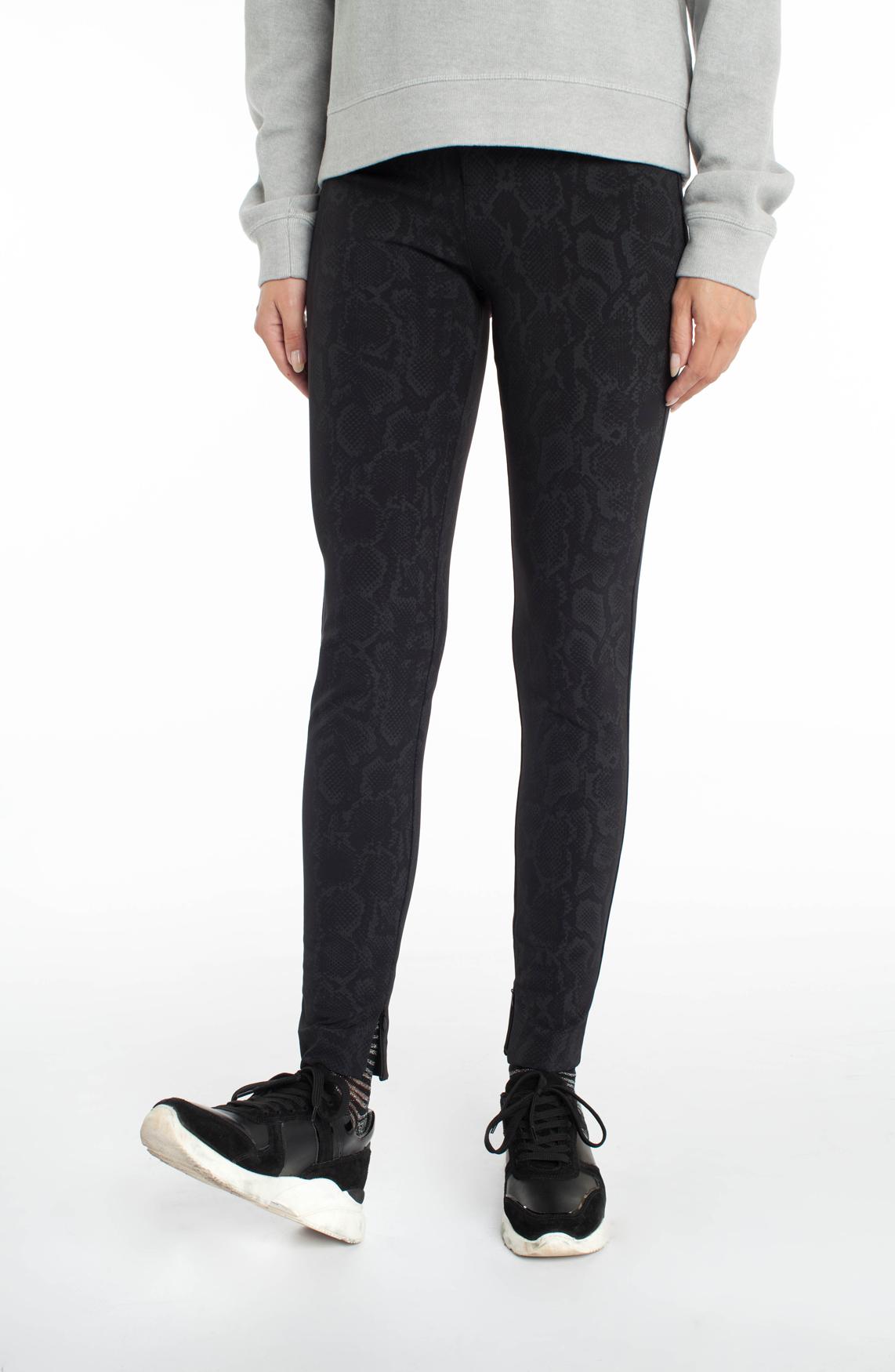Drykorn Dames Winch pantalon met reptielprint zwart