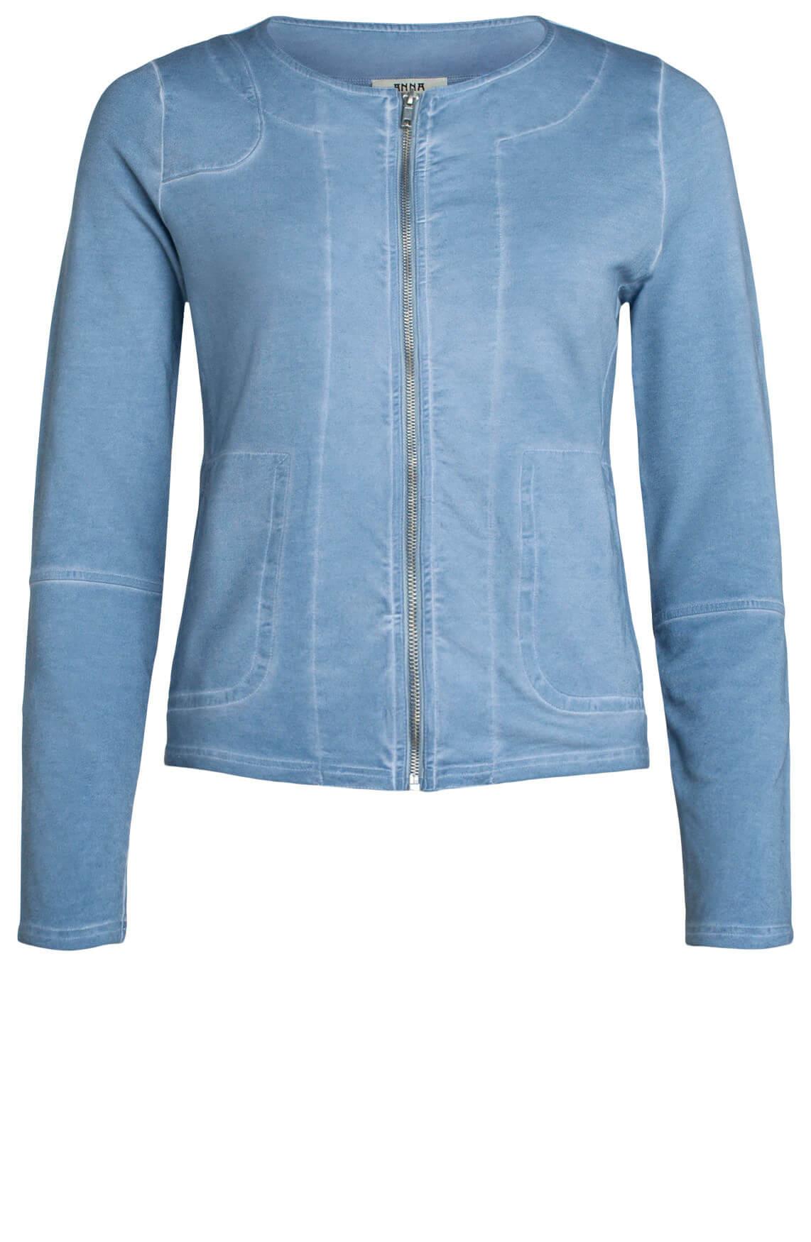 Anna Dames Garment dye blazer met rits Blauw