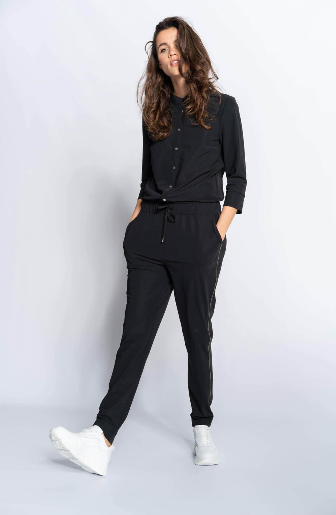 Anna Blue Dames Jersey jumpsuit met bies zwart