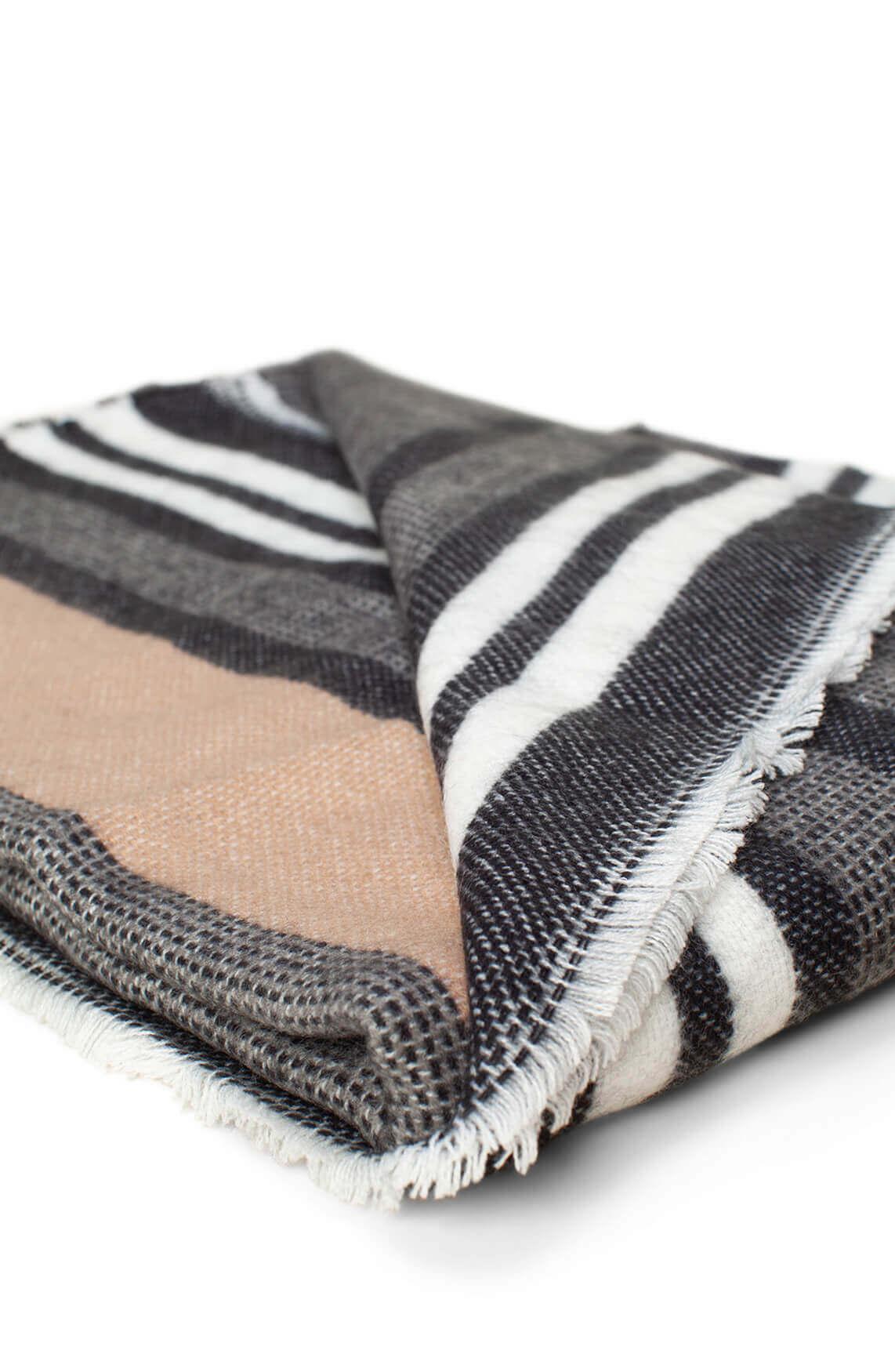 Anna Dames Gestreepte shawl zwart