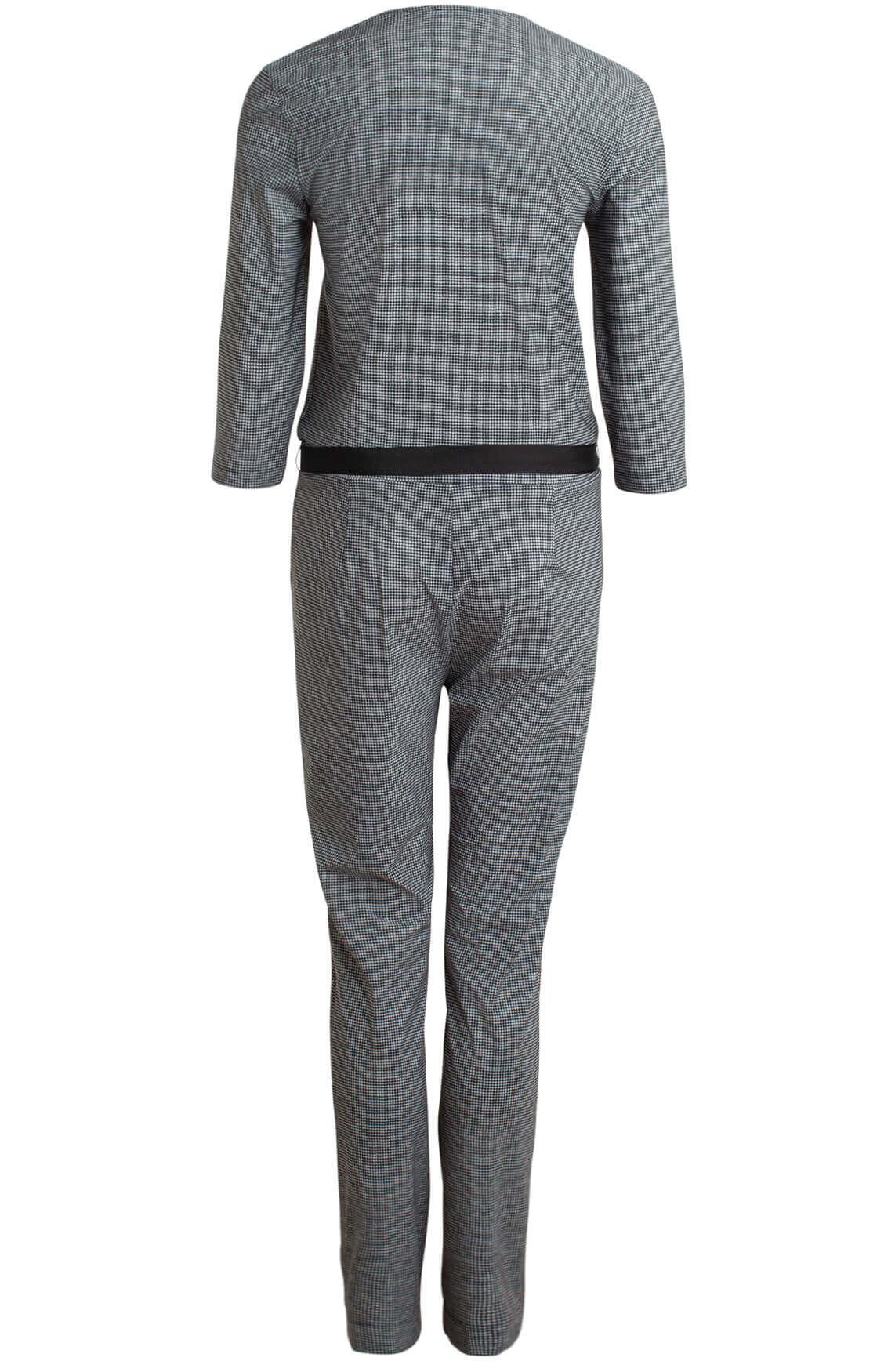 Anna Dames Pied-de-coque jumpsuit zwart