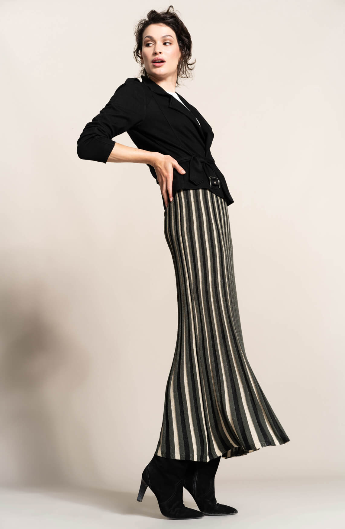 Anna Dames Lange plissé rok met lurex groen