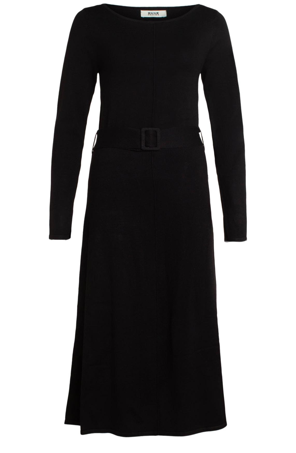 Anna Dames Lange gebreide jurk met ceintuur zwart