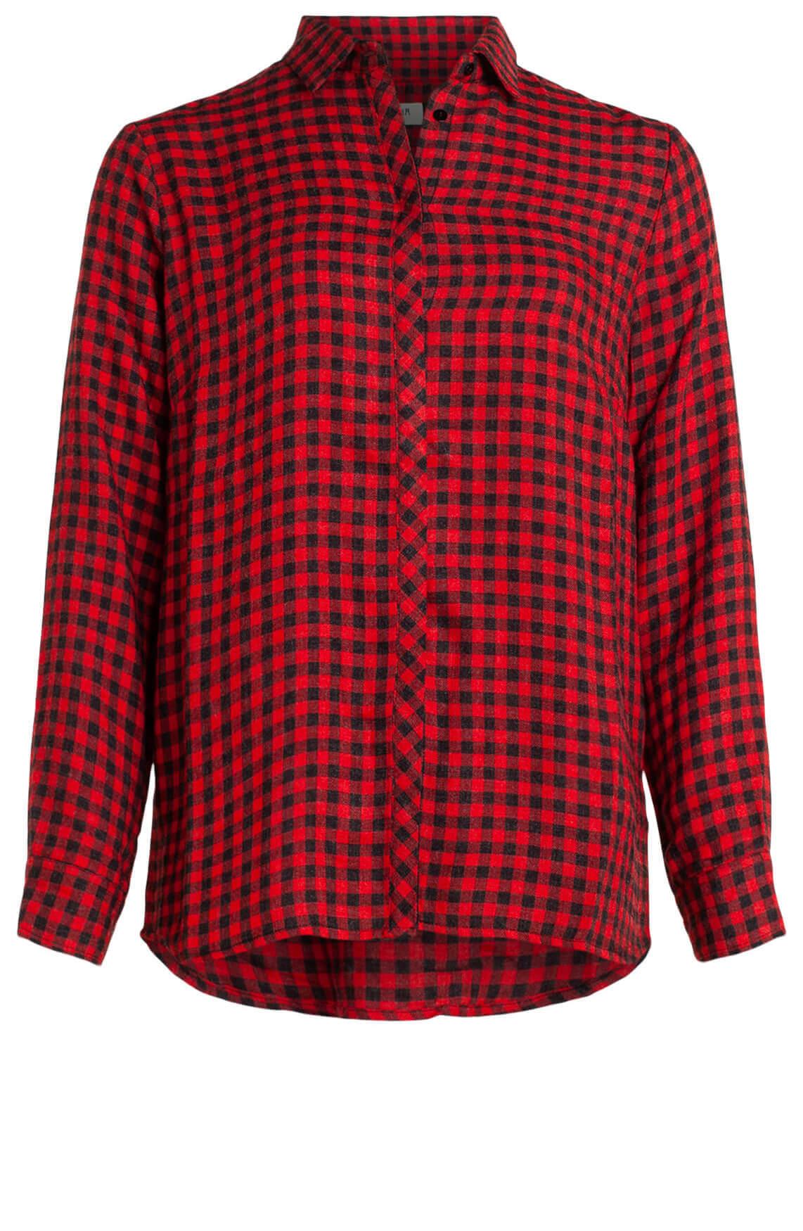 Anna Blue Dames Geruite blouse Rood