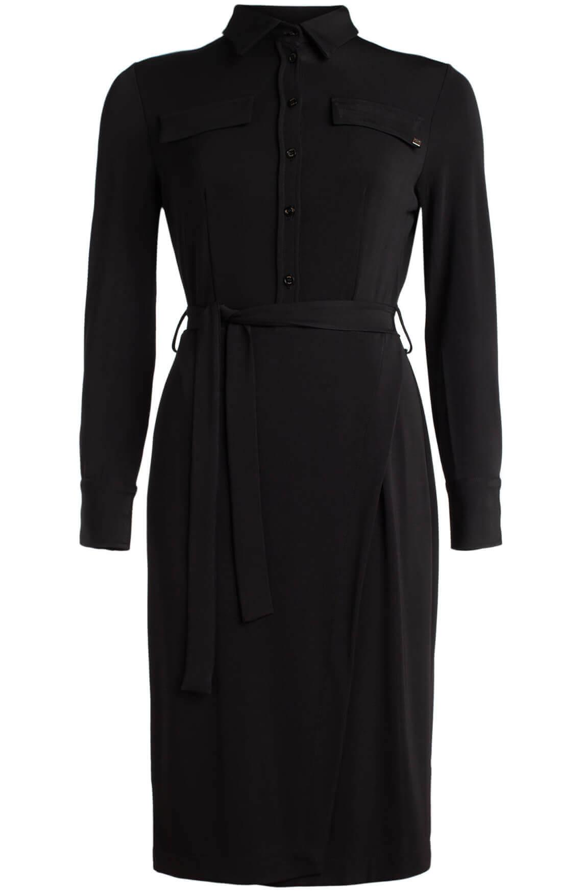 Kocca Dames Madras glanzende jurk met ceintuur zwart