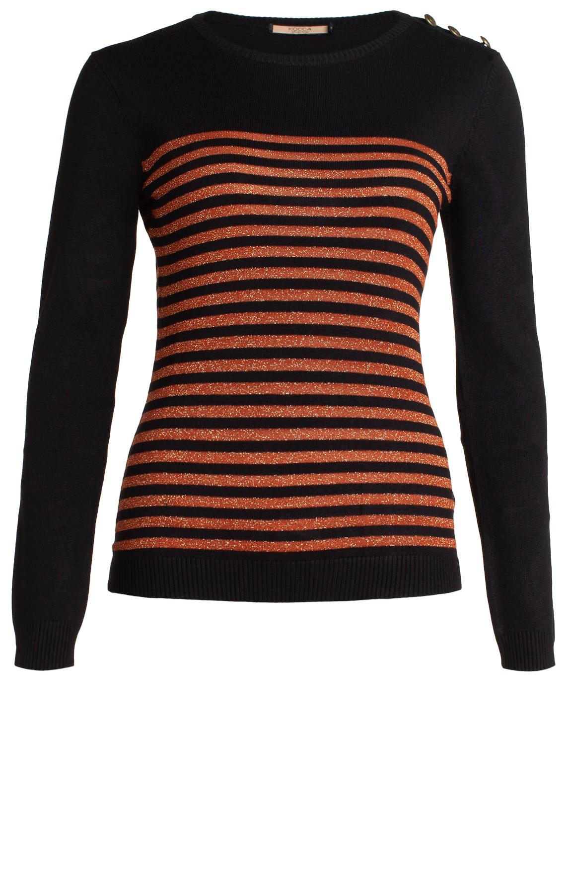 Kocca Dames Luk pullover met lurex strepen zwart