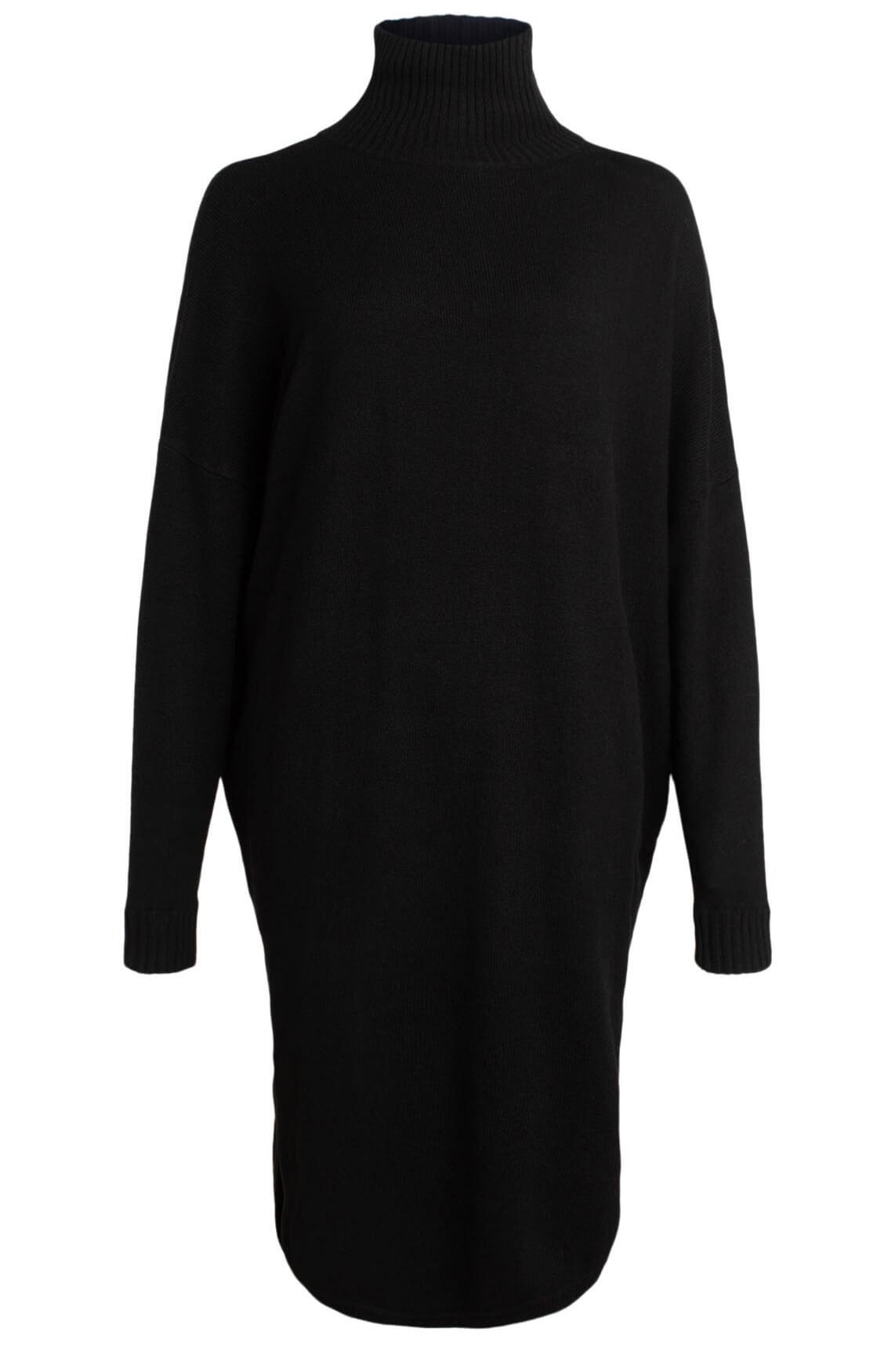 10 Days Dames Gebreide jurk met col zwart
