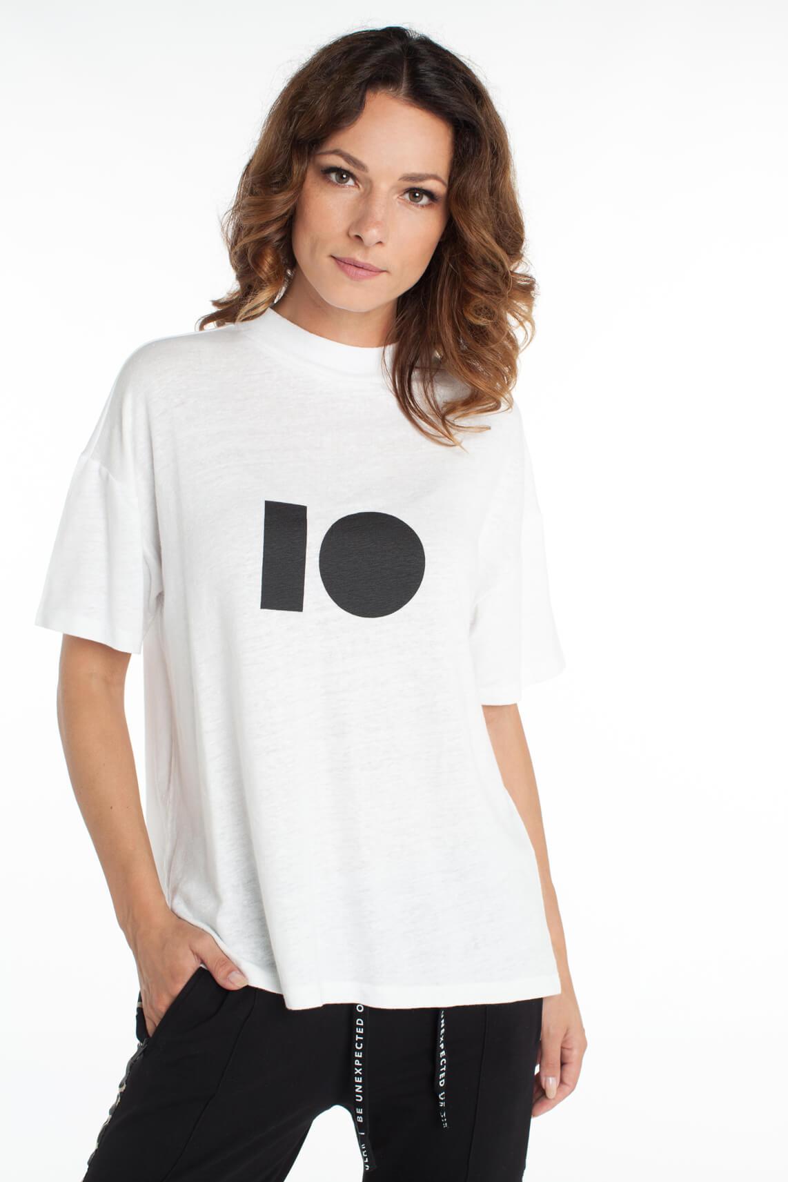 Dames Tshirt 10Days Turtle Neck Linen Tee