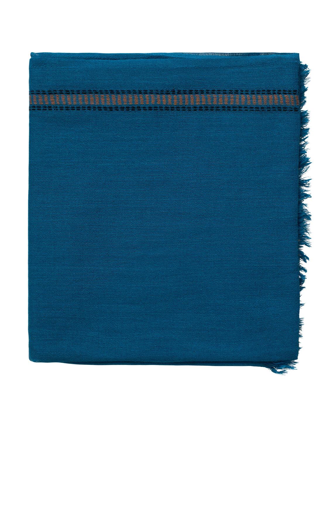Anna Dames Shawl met gekleurde bies Blauw