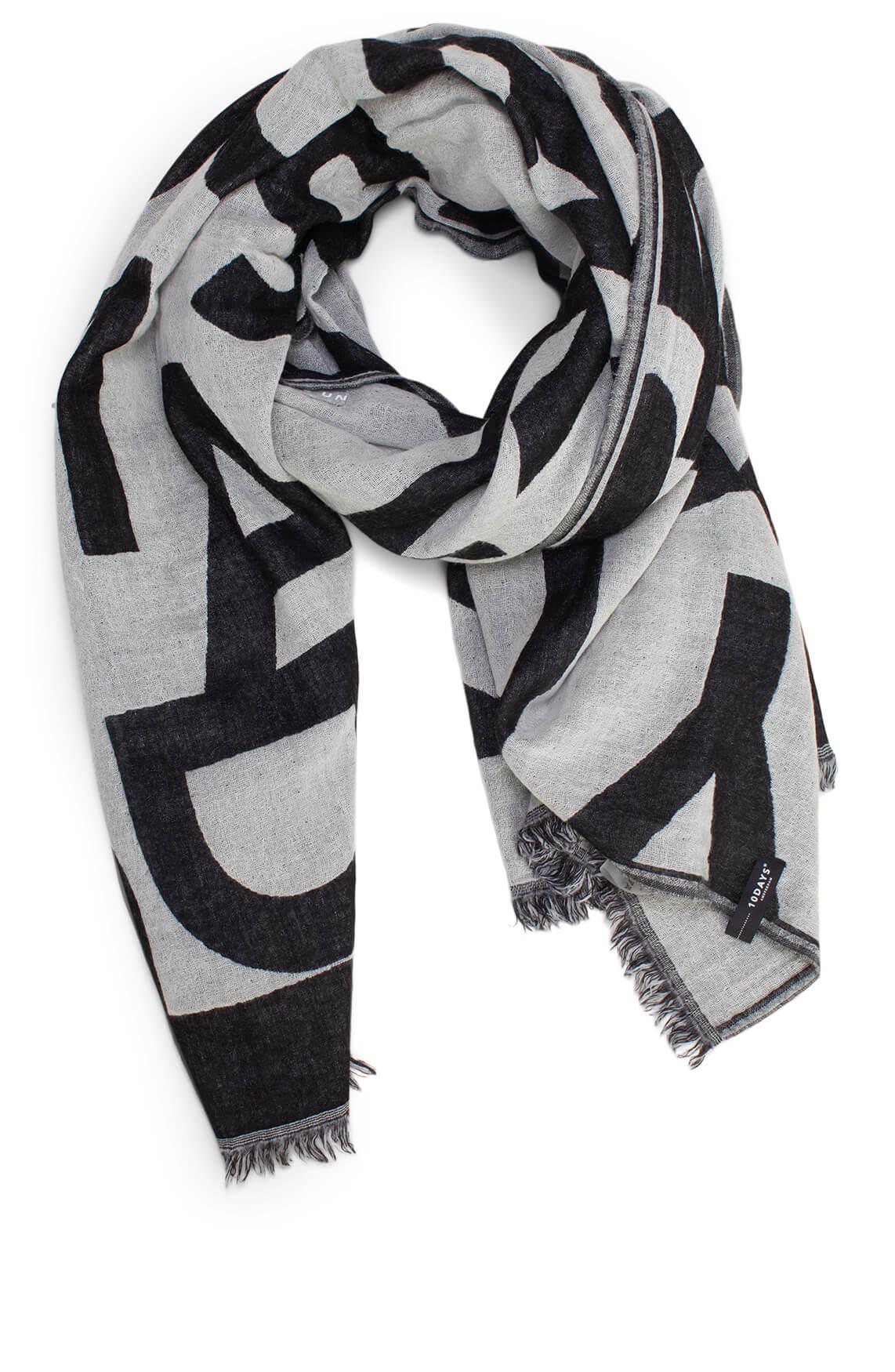 10 Days Dames Wollen shawl met logoprint zwart