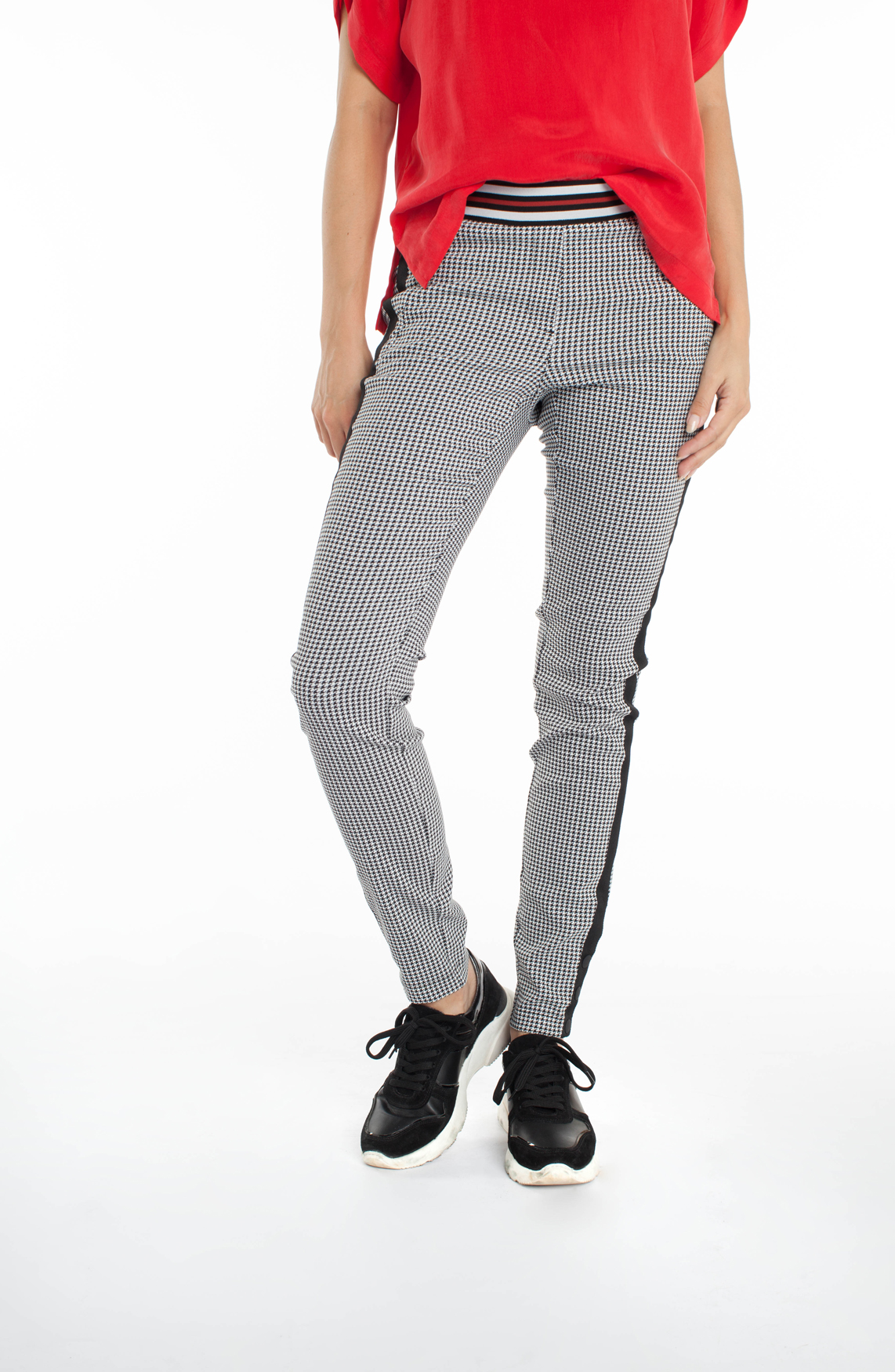 Anna Blue Dames Pied-de-poule pantalon zwart