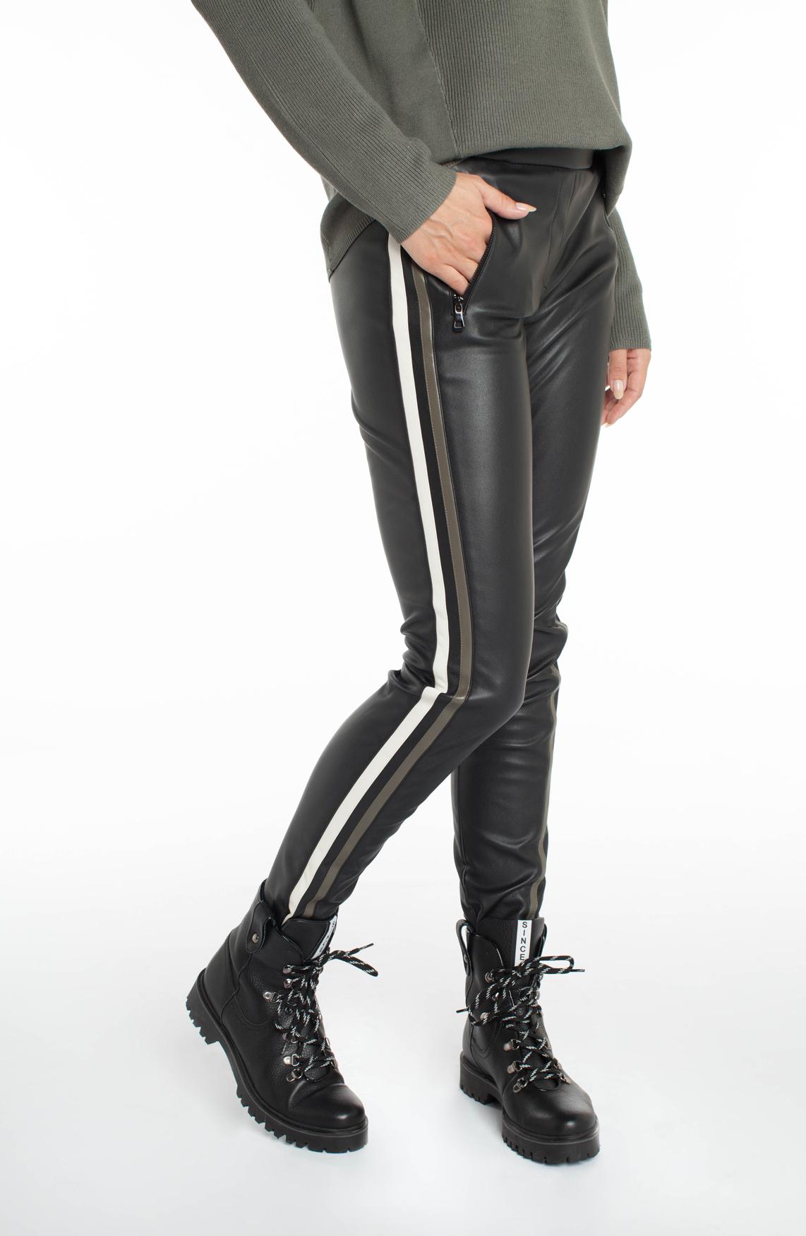 Anna Dames Fake leather broek met bies zwart