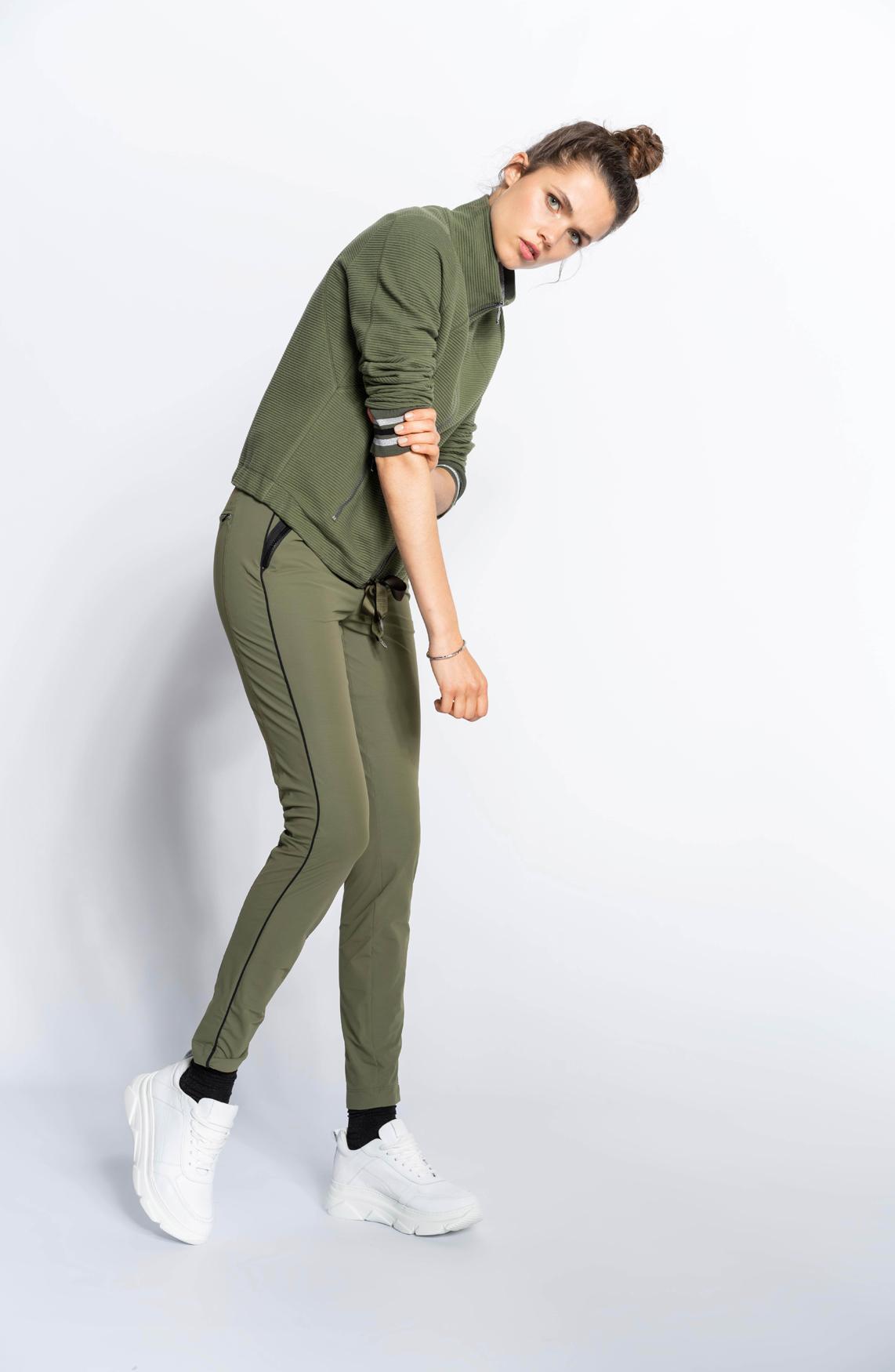 Anna Blue Dames Ribgebreid bombervest groen