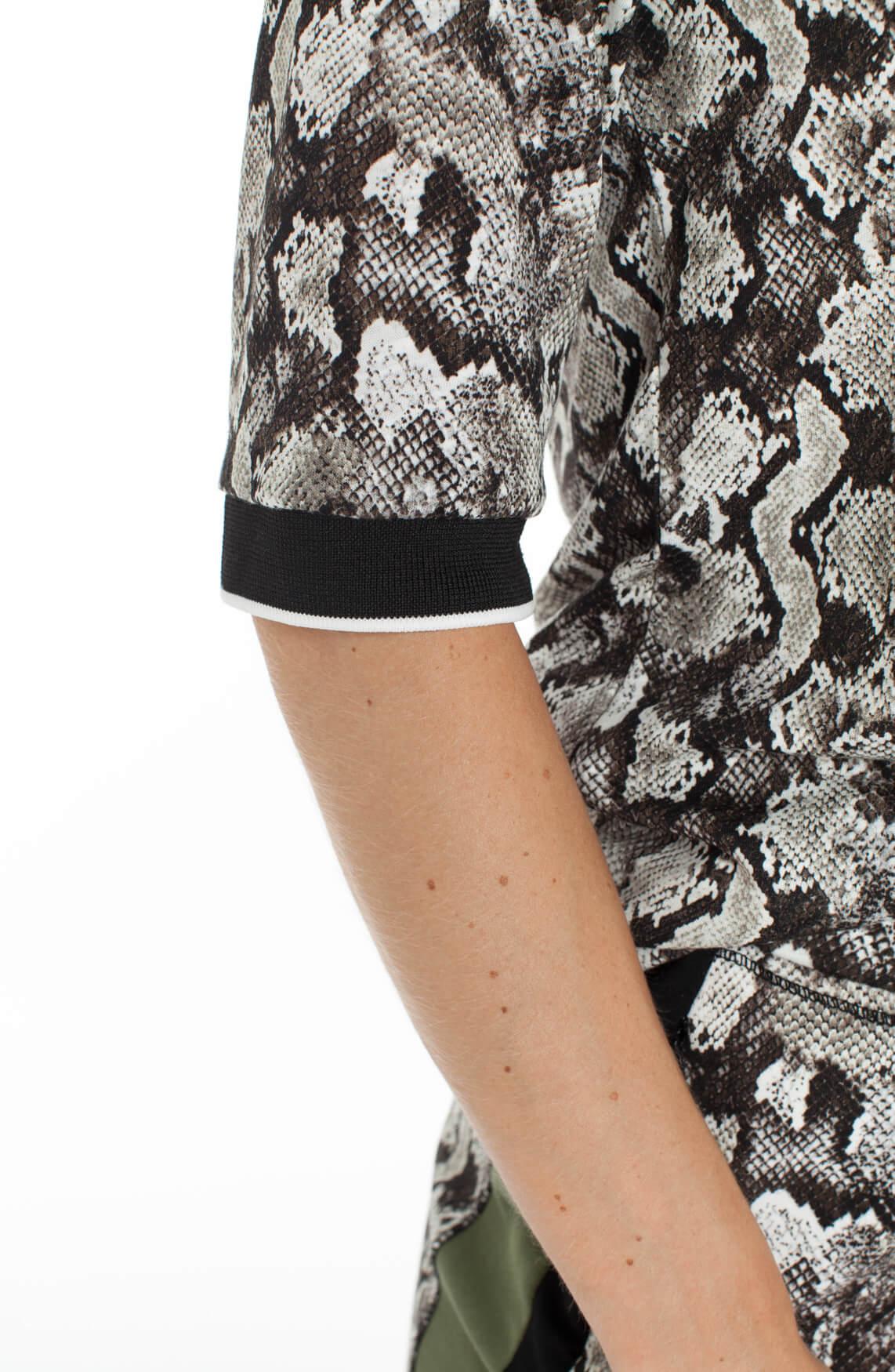 Anna Blue Dames Shirt met reptielprint Grijs