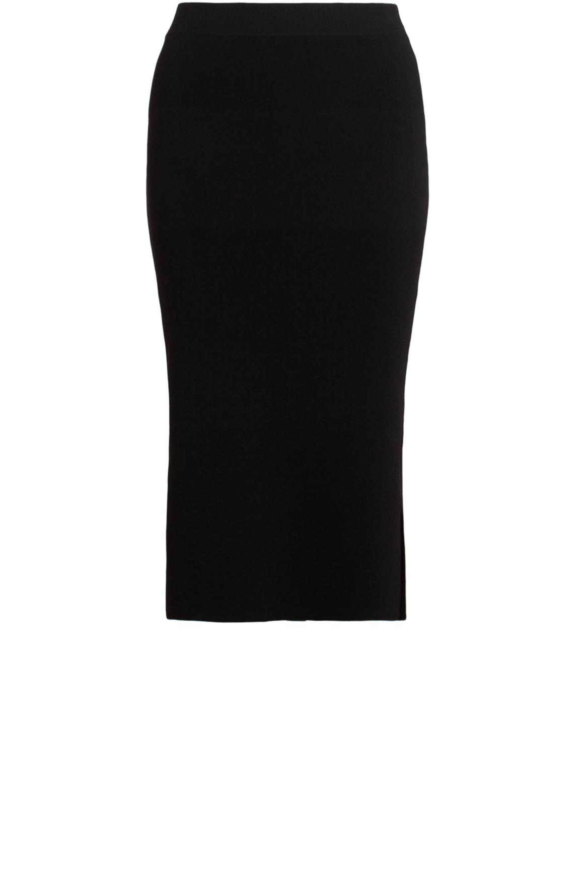 Anna Dames Midi rok met split zwart
